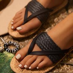 Dámské PU Nízký podpatek Sandály Žabky Pantofle S S pleteným páskem Ze dvou částí Solid Color obuv
