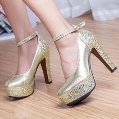 De mujer Cuero Tacón ancho Salón Plataforma Cerrados con Brillo Chispeante zapatos