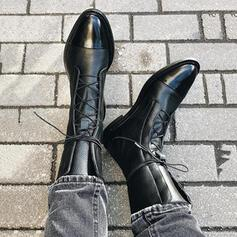 De mujer PU Tacón ancho Botas al tobillo con Cordones zapatos