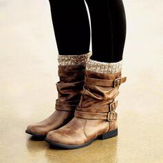 Vrouwen PU Flat Heel Laarzen Half-Kuit Laarzen Winterlaarzen met Gesp schoenen