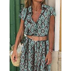 Nadrukowana Krótkie rękawy W kształcie litery A Koszula/Łyżwiaż Casual/Wakacyjna Maxi Sukienki