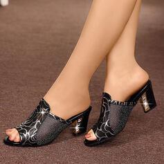 De mujer Cuero de Microfibra Tacón bajo Sandalias Pantuflas con Lentejuelas zapatos