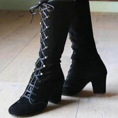 De mujer Cuero Tacón ancho Botas longitud media Encaje con Color sólido zapatos