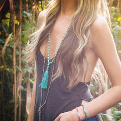 Schöne Modisch Exotisch Holzperlen mit Quasten Frauen Halsketten