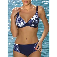 Wysoki stan Nadruk W prążki Dekolt w kształcie litery V Seksowny Wintage Bikini Stroje kąpielowe