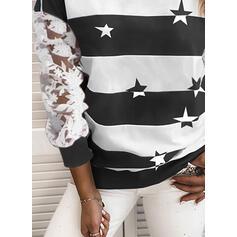 Wydrukować Blok Kolorów Koronka Okrągły Dekolt Długie rękawy Bluza
