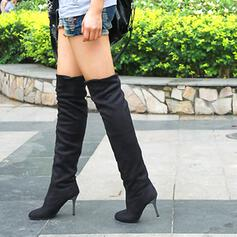 Pentru Femei Piele de Căprioară Toc Stiletto Gizme Peste Genunchi Cu vârful cu Culoare solida pantofi