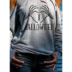 halloween Распечатать Сердце Холодный прием Длинные рукова Повседневная Блузы