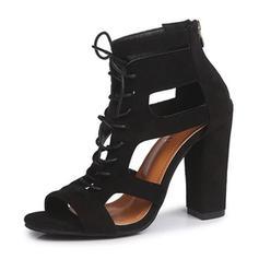 Bayanlar Süet Tıknaz Topuk Sandalet Peep Toe Ile Bağcıklı ayakkabı ayakkabı
