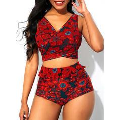 Floral Decolteu în V Fără bretele Frumos Retro Atractiv Bikini Mayolar