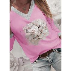 Nadruk Kwiatowy Dekolt w kształcie litery V Długie rękawy Casual T-shirty