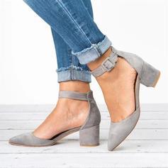 Kvinnor PU Stilettklack Pumps Stängt Toe med Spänne skor