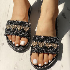De mujer PVC Tacón plano Sandalias Encaje Pantuflas con Rhinestone Lentejuelas zapatos