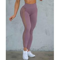 Color sólido Malla Leggings deportivos