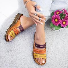 PU Tipo de tacón Sandalias Cuñas Encaje Pantuflas con Agujereado zapatos