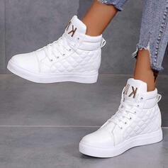 Donna PU Senza tacco Stivali alla caviglia Punta rotonda con Allacciato traspirante scarpe