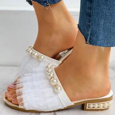 De mujer Encaje Tacón ancho Sandalias Encaje Pantuflas con Perlas de imitación zapatos