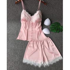 Cuello en V Correa Sin mangas Color sólido De moda Fiesta Cami y conjuntos cortos