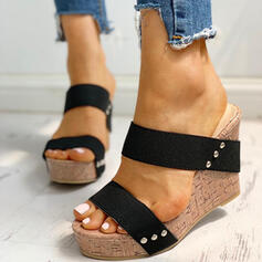 De mujer PU Tipo de tacón Sandalias Cuñas Encaje Pantuflas Tacones con Rivet zapatos