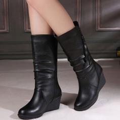 Vrouwen PU Wedge Heel Closed Toe Wedges Laarzen met Rits schoenen