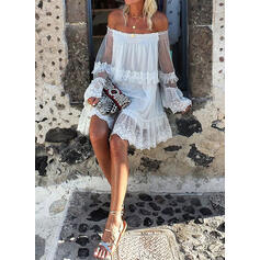 Lace/Solid Long Sleeves/Flare Sleeves Shift Knee Length Little Black/Casual/Vacation Tunic Dresses
