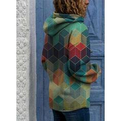 Geometrikus nyomtatás Dlouhé rukávy Kapuce