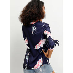 Print Floral V-Neck 1/2 Sleeves Button Up Casual Blouses