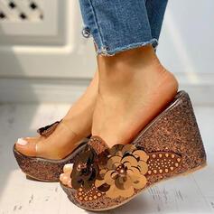 De mujer PVC Tipo de tacón Sandalias Encaje Pantuflas con Rhinestone Perlas de imitación zapatos