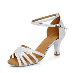 De mujer Danza latina Tacones Sandalias Cuero Brillo Chispeante con Tira de tobillo Danza latina