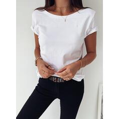 Jednolity Okrągły dekolt Krótkie rękawy Casual Podstawowe T-shirty