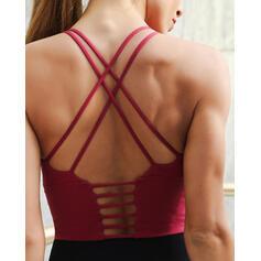 Cuello Redondo Sin mangas Color sólido Cruzar Sujetadores deportivos