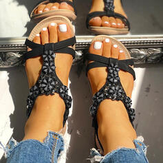 De mujer PU Tacón plano Sandalias Encaje con Rhinestone Flor zapatos