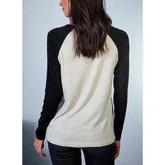 Blocchi di colore Pizzo Girocollo Maniche lunghe Casuale Camicie