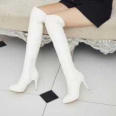 Pentru Femei PU Toc Stiletto Încălţăminte cu Toc Înalt Platformă Gizme Peste Genunchi cu Fermoar pantofi