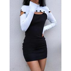 Color-block Dlouhé rukávy Přiléhavé Nad kolena Neformální Šaty