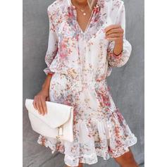 Impresión/Floral Mangas 3/4 Acampanado Hasta la Rodilla Casual/Vacaciones Vestidos