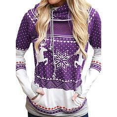 Animal Print Kapsy Dlouhé rukávy Vánoční mikina