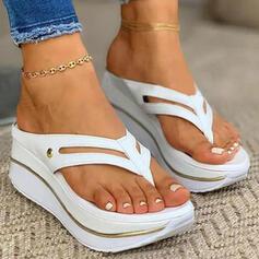 Kvinder PU Kile Hæl sandaler Platform Flip Floppere Tøfler med Udhul Solid Color sko