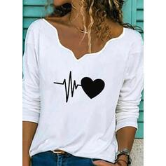 Nadruk Serce Dekolt w kształcie litery V Długie rękawy Casual Bluzki