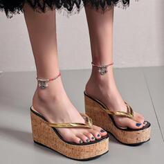 Women's PU Wedge Heel Sandals Platform Wedges Flip-Flops Slippers Heels With Hollow-out Wood shoes