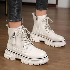 De mujer PU Tacón plano Botas Botas al tobillo con Cordones Color sólido zapatos