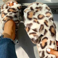 Femmes Tissu Talon plat Chaussons avec La copie Animale Fourrure chaussures