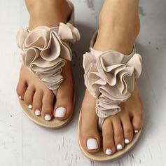 De mujer PU Tacón plano Sandalias Chancletas Pantuflas con Flor Banda elástica zapatos