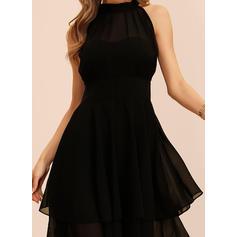 Sólido Sin mangas Acampanado Hasta la Rodilla Pequeños Negros/Fiesta Vestidos