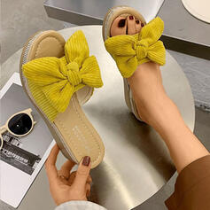 De mujer Ante Tipo de tacón Sandalias Cuñas Pantuflas con Bowknot Color sólido zapatos