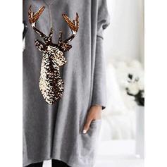 Animal Print V-Neck Long Sleeves Casual Christmas Knit Blouses