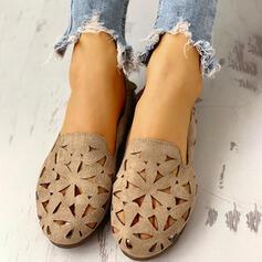 Dla kobiet Zamsz Płaski Obcas Plaskie Zakryte Palce Round Toe Z Tkanina Wypalana obuwie