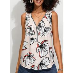 Floral Decote em V Sem Mangas Casual Sexy Camisetas regata