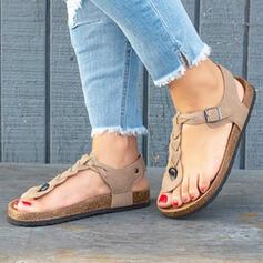 Women's PU Flat Heel Sandals Peep Toe Flip-Flops With Rivet Buckle shoes
