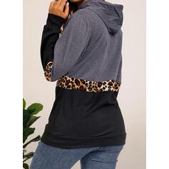 Nyomtatás Színblokk Leopard Dlouhé rukávy Kapuce
